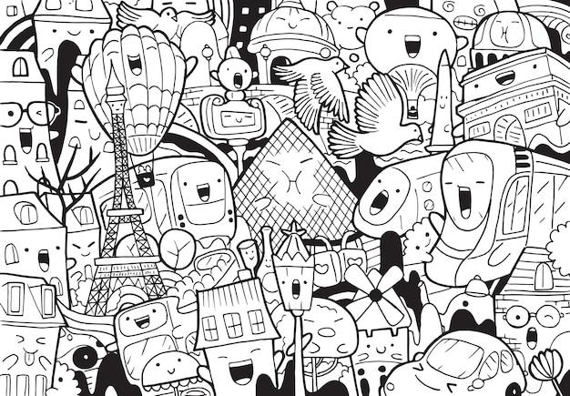 Illustration de doodle paysage urbain de paris en style cartoon