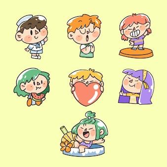 Illustration de doodle de personnage d'activité d'été pour garçons et filles