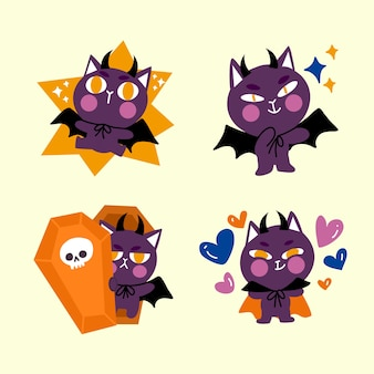 Illustration de doodle de personnage adorable petit chat dracula animé