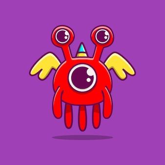 Illustration de doodle de personnage de monstre mignon