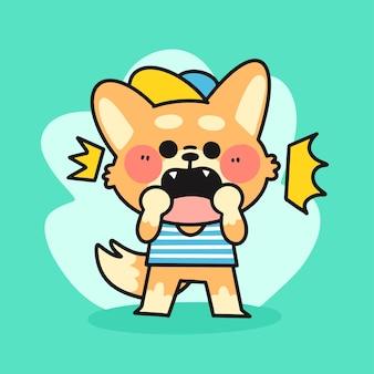 Illustration de doodle petit personnage corgi choqué