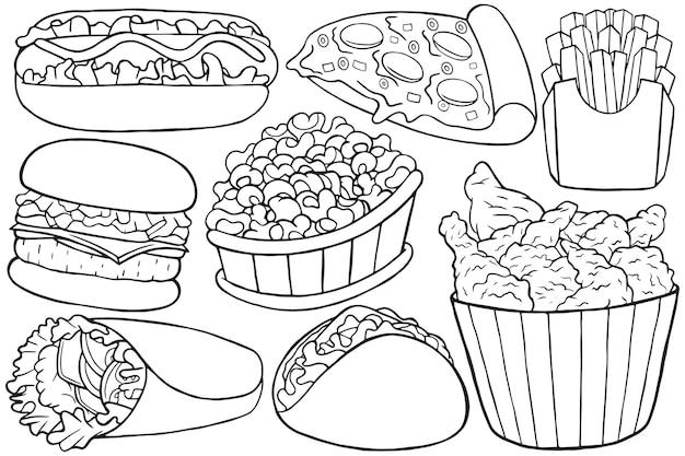 Illustration de doodle de restauration rapide en style cartoon