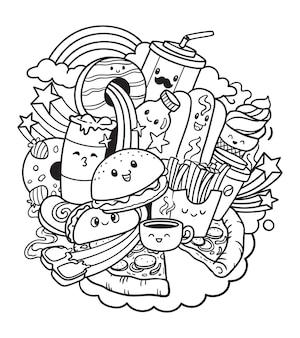 Illustration doodle de restauration rapide