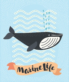 Illustration de doodle souriant baleine