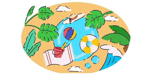 Illustration doodle sur le thème de l'été créatif frais exclusif
