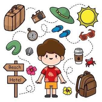 Illustration de doodle de voyage