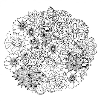 Illustration de doodle zentangle dessiné à la main pour livres de coloriage adultes