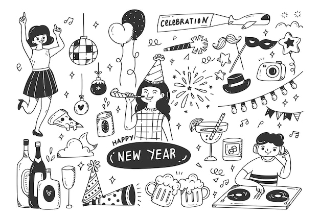 Illustration de doodles fête nouvel an