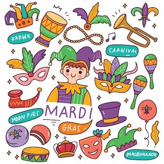 Illustration de doodles mardi grass