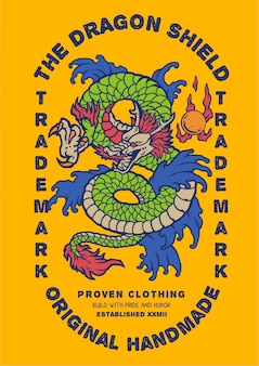 Illustration de dragon vert d'asie avec style étiquette rétro vintage