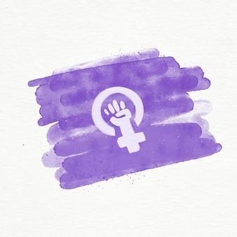 Illustration de drapeau féministe aquarelle avec poing et symbole féminin