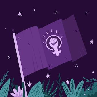 Illustration de drapeau féministe dessiné à la main