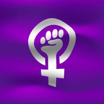 Illustration de drapeau féministe réaliste