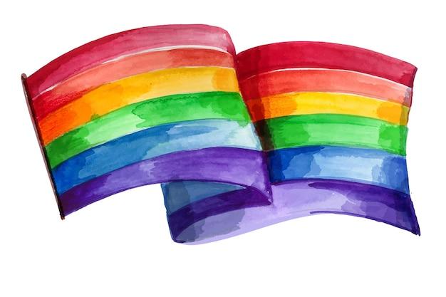 Illustration de drapeau de jour de fierté aquarelle peinte à la main