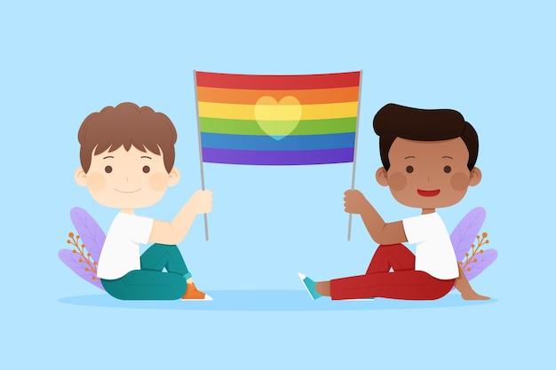 Illustration de drapeau de jour de fierté plate