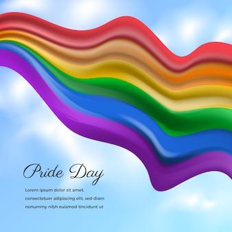 Illustration de drapeau de jour de fierté réaliste