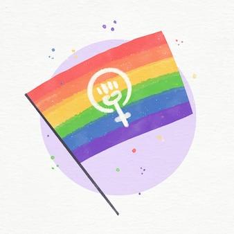 Illustration de drapeau lgbt féministe aquarelle