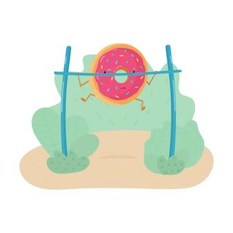 Illustration drôle d'un beignet engagé dans une séance d'entraînement