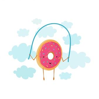 Illustration drôle avec beignet de nuages qui saute sur une corde à sauter
