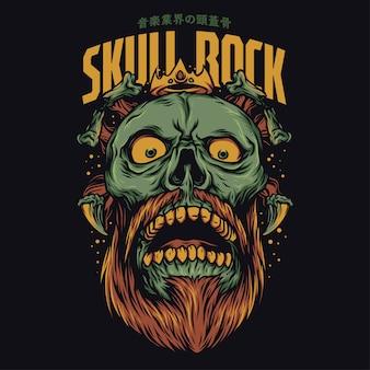 Illustration drôle de crâne rock dessin animé