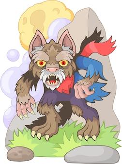 Illustration drôle de dessin animé de loup-garou