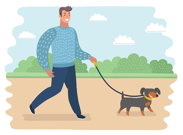 Illustration drôle de dessin animé de vecteur d'homme marchant avec le chien dans le parc. paysage extérieur d'été.+