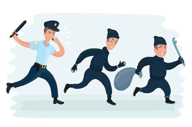 Illustration de drôle de dessin animé de vecteur de jeune homme de police courant pourchassant des voleurs s'échappant avec le sac volé
