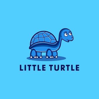 Illustration drôle de personnage de dessin animé petite tortue bleue mer sous-marine animal vecteur signe conception