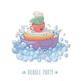 Illustration drôle avec des plats de cuisine entourés de bulles