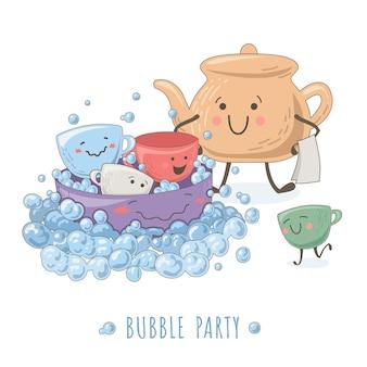Illustration drôle avec théière, tasses entourées de bulles