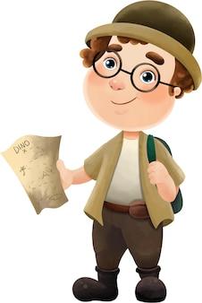 Illustration d'un drôle de voyageur avec un chapeau et une carte.
