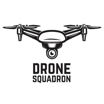 Illustration de drone sur fond blanc. éléments pour logo, étiquette, emblème, signe. illustration