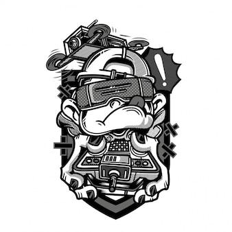 Illustration de drone racer noir et blanc