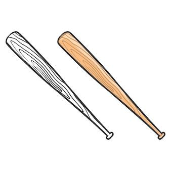 Illustration du baseball avec des chauves-souris lineart
