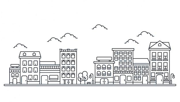 Illustration du bâtiment dans le style de ligne