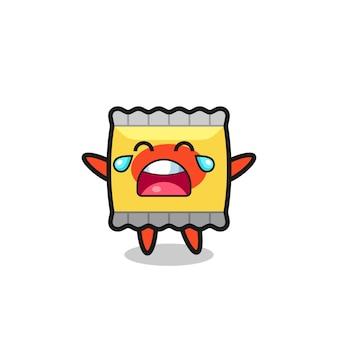 L'illustration du bébé mignon de collation qui pleure, conception de style mignon pour t-shirt, autocollant, élément de logo