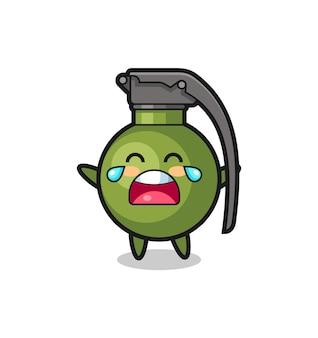 L'illustration du bébé mignon de grenade qui pleure, conception de style mignon pour t-shirt, autocollant, élément de logo