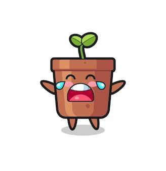 L'illustration du bébé mignon de pot de plante qui pleure, conception de style mignon pour t-shirt, autocollant, élément de logo