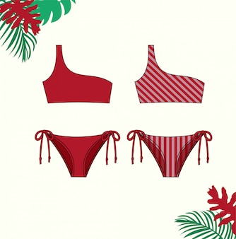 Illustration du bikini pour femmes, maillot de bain bikini rouge pour l'été, modèle de croquis plat mode.