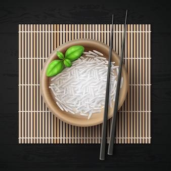 Illustration du bol plein de grains de riz