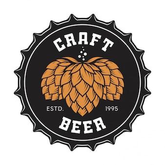 Illustration du bouchon de bouteille de bière artisanale avec du houblon