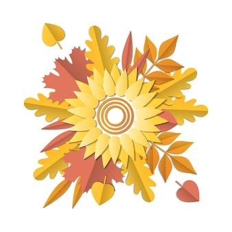 Illustration du bouquet pour l'automne avec feuilles, tournesol. style artisanal en papier.
