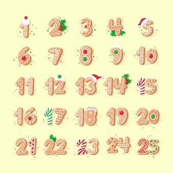 Illustration du calendrier de l'avent dessiné à la main