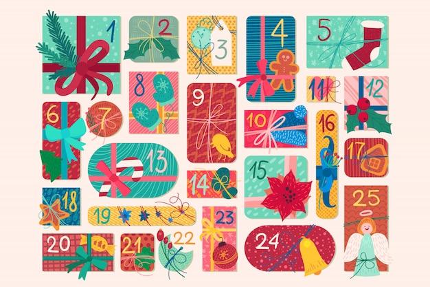 Illustration du calendrier de l'avent festif de décembre