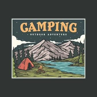 Illustration du camping au bord de la rivière