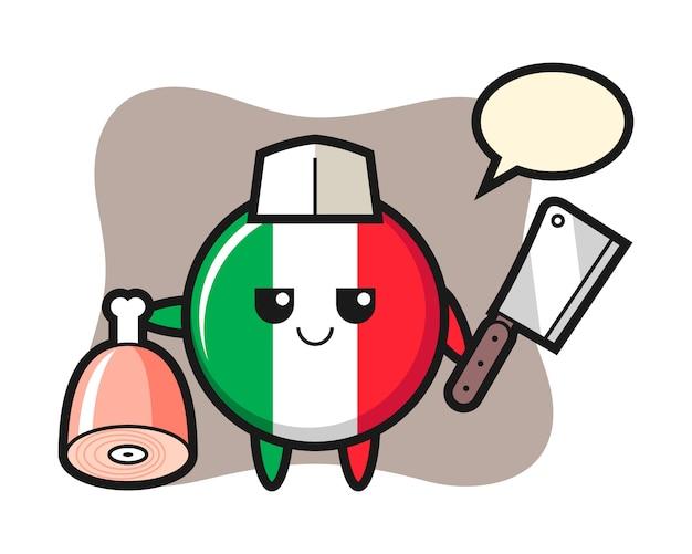 Illustration du caractère de l'insigne du drapeau italien comme boucher, style mignon, autocollant, élément de logo