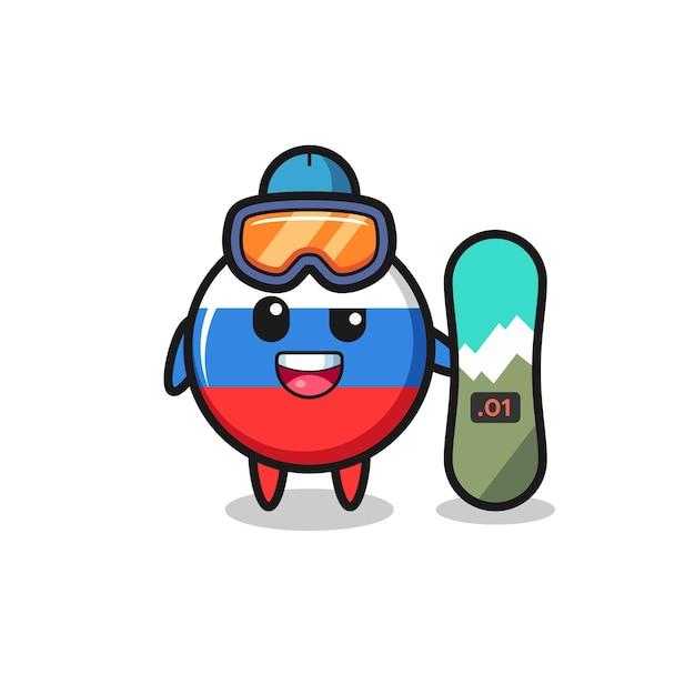 Illustration du caractère insigne du drapeau russe avec style snowboard, design de style mignon pour t-shirt, autocollant, élément de logo