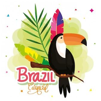 Illustration du carnaval brésil avec toucan et décoration