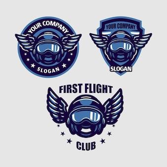 Illustration du casque de pilote avec emblème d'aile parfait pour pilote, compagnie aérienne, etc.