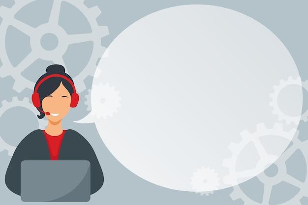 Illustration du centre d'appels de dame avec un casque et un ballon de dialogue d'ordinateur montrant une femme de message utilisant...